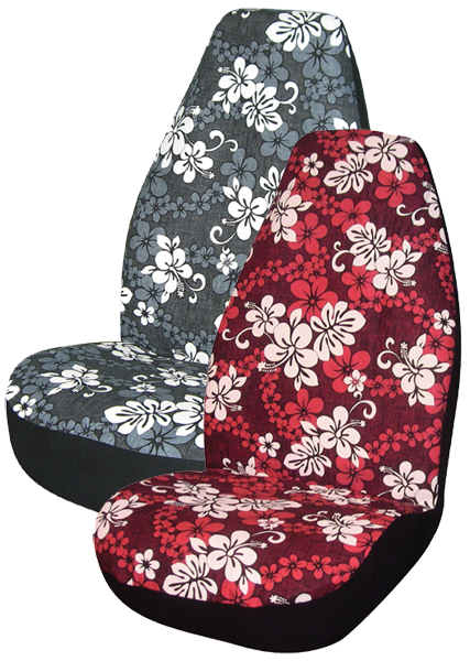 hawaiian print universal bucket seat covers pair ali67 0346 series. Black Bedroom Furniture Sets. Home Design Ideas