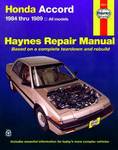 Haynes Repair Manual For Honda Accord  (1984-1989)