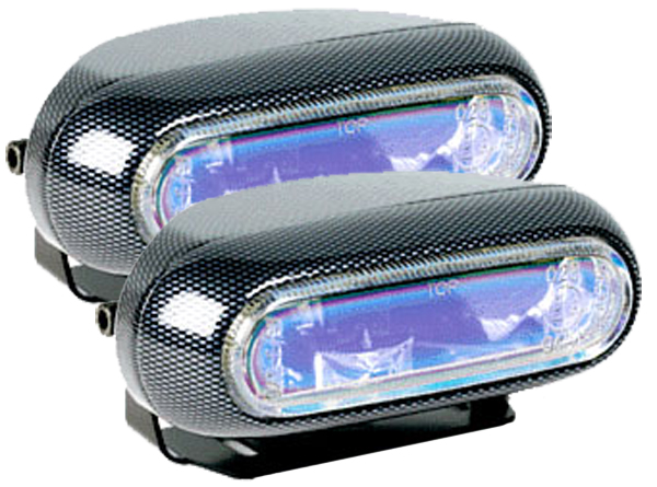 Image of Hella Optilux 1250 Electron Blue Carbon Fiber Rectangular Fog Light Kit