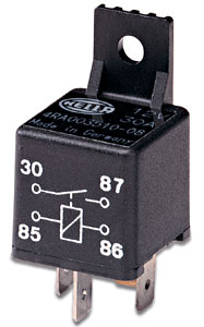 Image of Hella Replacement 30 Amp SPST Mini-Relay with Bracket