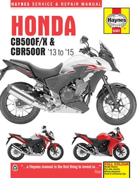 honda cb500f x cbr500r haynes repair manual 2013 2015. Black Bedroom Furniture Sets. Home Design Ideas