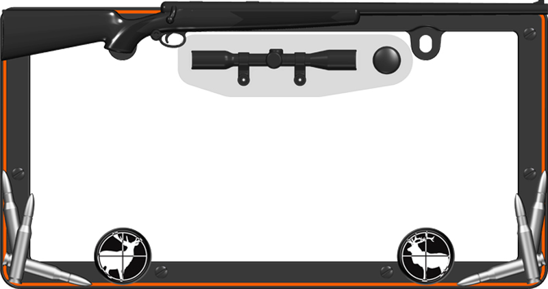 Hunter Black & Orange License Plate Frame Kit - CRU19656
