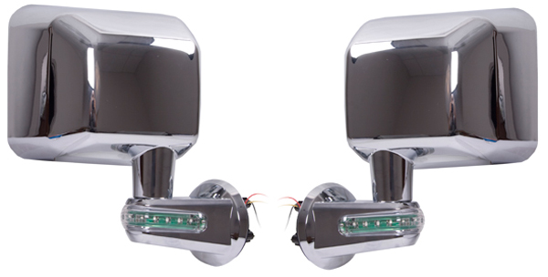 Jeep Wrangler JK Chrome Mirrors With LED Turn Signal Indicators-Pair (2007-2017)