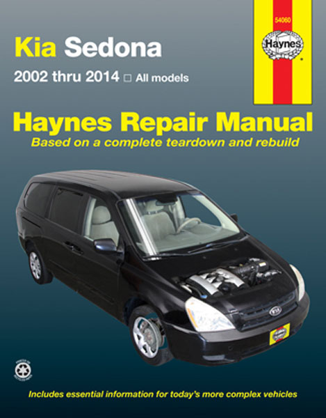 kia sedona haynes repair manual 2002 2014 hay54060. Black Bedroom Furniture Sets. Home Design Ideas