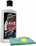 Meguiar's PlastX Clear Plastic Cleaner & Polish (10 oz), Microfiber Cloth & Foam Pad Kit