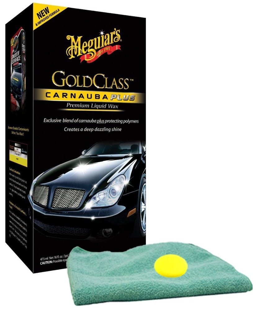 Image of Meguiars Gold Class Carnauba Plus Premium Liquid Wax (16 oz.) Microfiber Cloth & Foam Pad Kit
