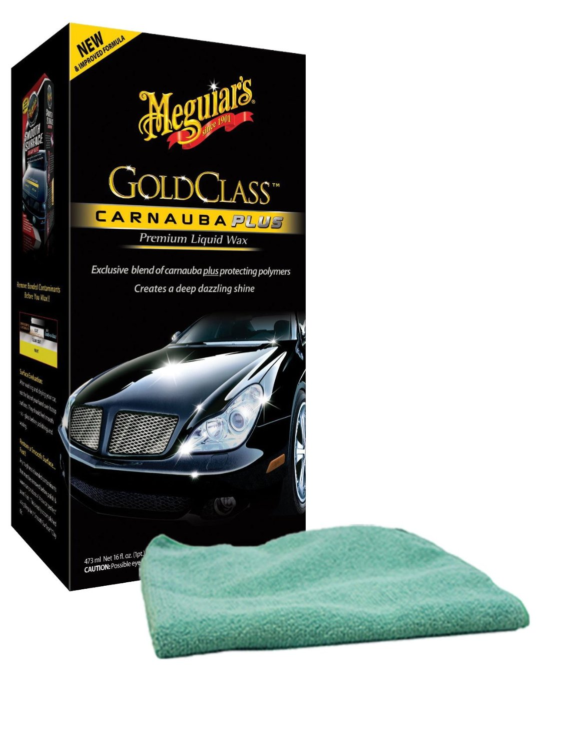 Image of Meguiars Gold Class Carnauba Plus Premium Liquid Wax (16 oz.) & Microfiber Cloth Kit