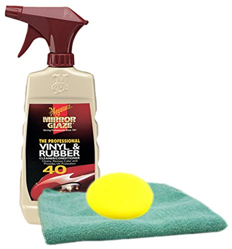 Image of Meguiars Professional Vinyl & Rubber Cleaner (16 oz.) Microfiber Cloth & Foam Pad Kit