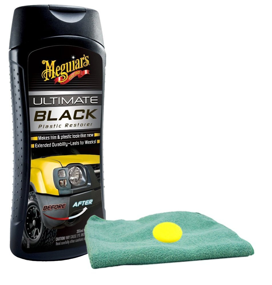 Image of Meguiars Ultimate Black Plastic Restorer Microfiber Cloth & Foam Pad Kit