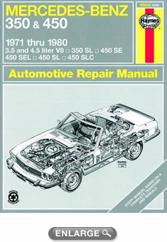 Mercedes benz 350 450 haynes repair manual 1971 1980 for Mercedes benz tune up cost
