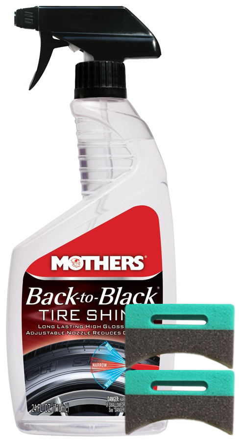 Image of Mothers Back-To-Black Tire Shine 24 oz. & Applicator Pads Kit