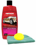 Mothers California Gold Pure Polish Pre Wax Cleaner (16 oz), Microfiber Cloth & Foam Pad Kit