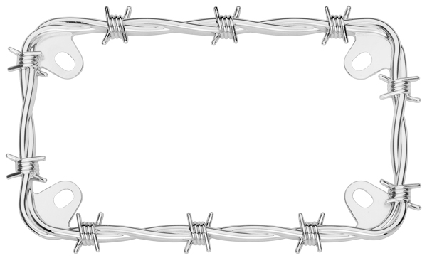Image of Motorcycle Chrome Barbed Wire License Plate Frame