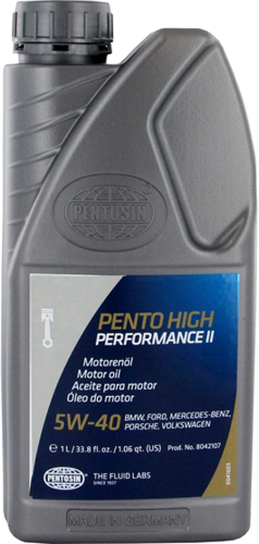 Image of Pentosin 5W40 Synthetic High Performance II Motor Oil 1 Liter
