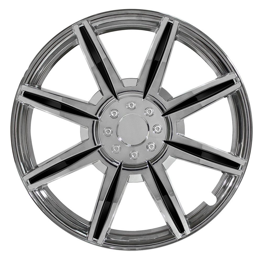 "Pilot Automotive Chrome 8 Spoke 16"" Wheel Cover with Black Inserts Set of 4"