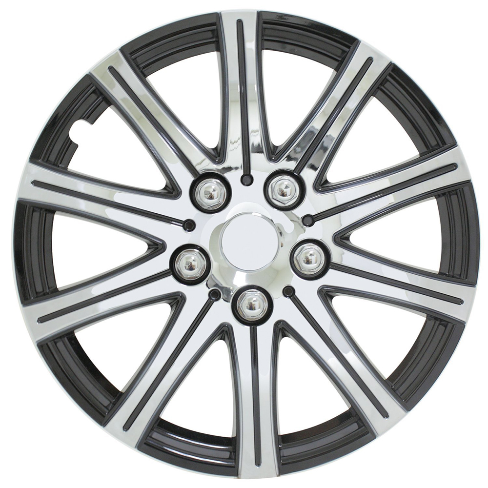 "Pilot Automotive Stick Silver 15"" Wheel Cover with Black Accent Set of 4"