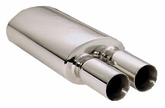 Pilot Stainless Steel Oval Muffler w/Dual Round Tips