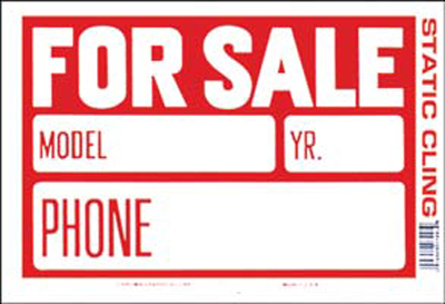 """Image of """"Red & White Static Cling For Sale Sign (8"""""""" x 12"""""""")"""""""