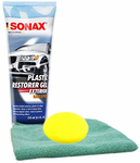 Sonax Plastic Restorer Gel (250 ml), Microfiber Cloth & Foam Pad Kit