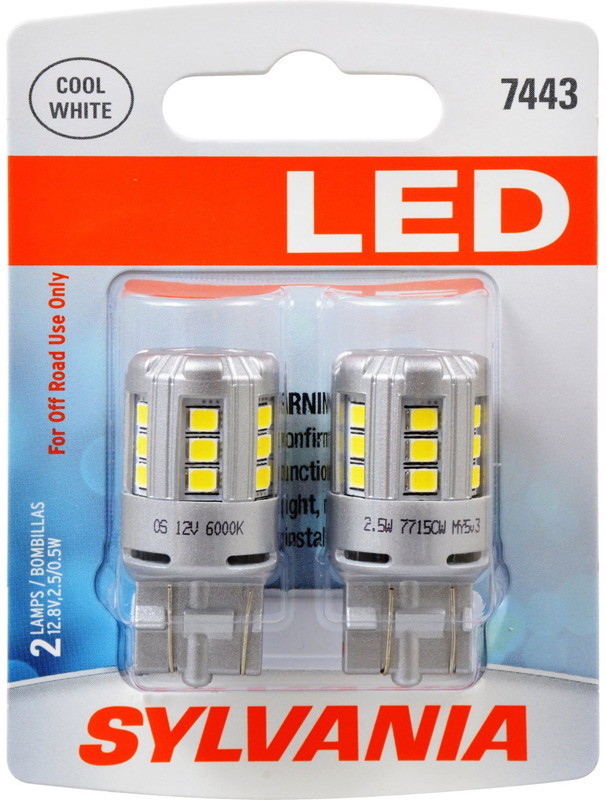 Image of Sylvania 7443 LED T20 Cool White Miniature Bulbs Pair