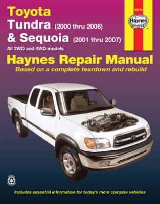 toyota tundra sequoia haynes repair manual 2000 2007. Black Bedroom Furniture Sets. Home Design Ideas