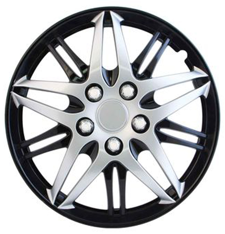"Image of ""Pilot Automotive 15"""" Formula Performance Black & Chrome Wheel Covers (Set of 4)"""