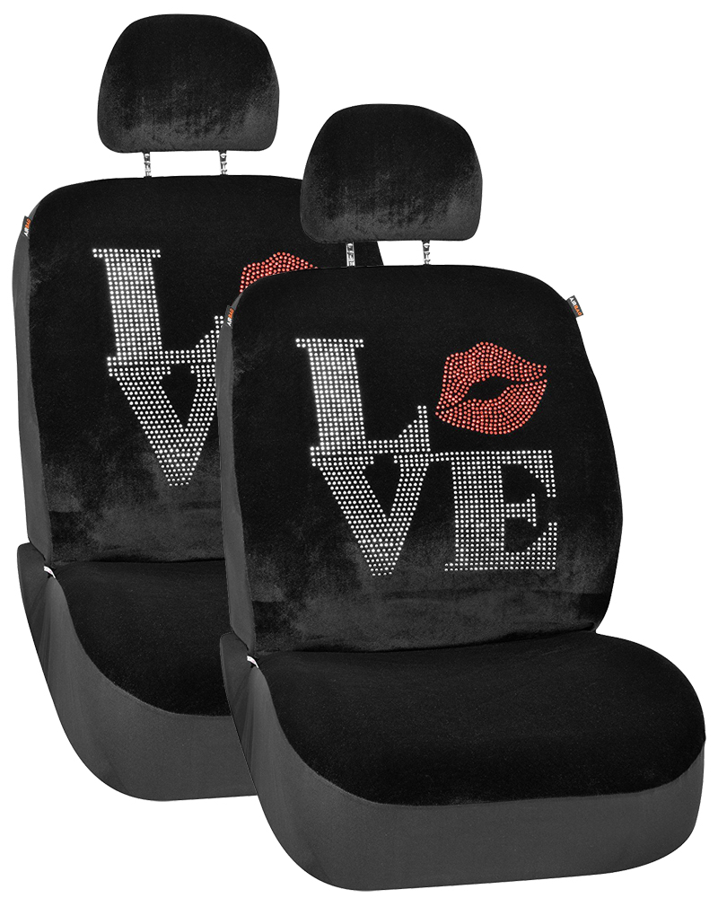 Image of Black Accented Love Universal Low Back Seat Covers (Pair)