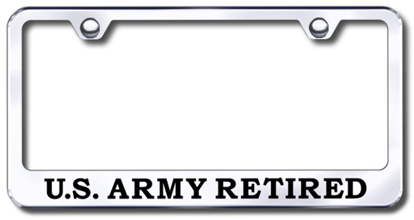 US Army Retired Laser Etched Stainless Steel License Plate Frame ...