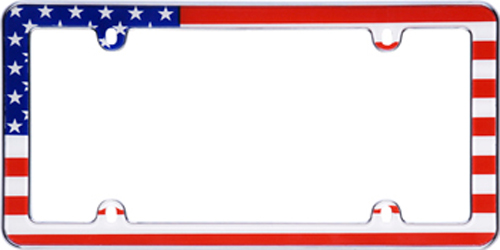 USA Flag Chrome License Plate Frame
