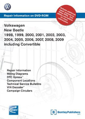 volkswagen new beetle convertible dvd repair manual 1998 2009 rh autobarn net 2001 Volkswagen Beetle 2001 Volkswagen Beetle