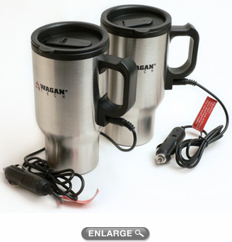 Wagan 16 oz. Stainless Steel Heated Travel Mugs (Pair)