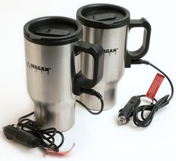 Image of Wagan 16 oz. Stainless Steel Heated Travel Mugs (Pair)