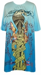 SOLD OUT!!!!!!!!!!!!!!111SALE!! Ed Hardy Turquoise Blue Erase All Fears Plus Size T-Shirts by Christian Audigier 2x