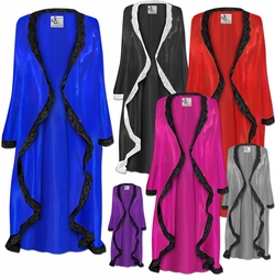 MANY COLORS! Plus Size Customizable Wedding Night Lace Trim White Black Navy Gold Royal Lavender Purple Pink Turquoise or Silver Satin Robe 0x 1x 2x 3x 4x 5x 6x 7x 8x 9x