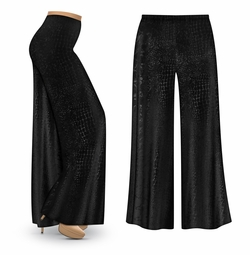NEW! Customizable Black Velvet Python Print Plus Size & Supersize Palazzo Pants Sizes Lg XL 1x 2x 3x 4x 5x 6x 7x 8x 9x