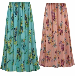 SALE! Customizable Plus Size Coral or Sea Foam Floral Crinkle Satin Skirts - Sizes Lg XL 1x 2x 3x 4x 5x 6x 7x 8x 9x