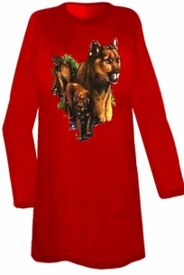 SOLD OUT!!!!SALE! Red 3 Cougars Plus Size Long Sleeve T-Shirts 6xl
