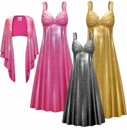 Customizable 2-Piece Metallic Spangle Sequin Slinky Plus Size SuperSize Princess Seam Dress Set 0x 1x 2x 3x 4x 5x 6x 7x 8x