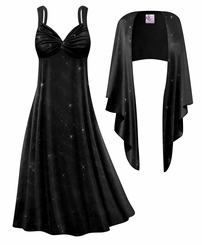 Customizable 2-Piece Black Glittery Lines Slinky Plus Size SuperSize Princess Seam Dress Set 0x 1x 2x 3x 4x 5x 6x 7x 8x