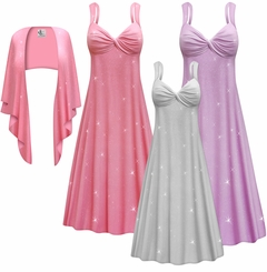 Customizable Plus Size 2-Piece Pink Lavender or Silver Glittery Slinky Princess Seam Dress Set 0x 1x 2x 3x 4x 5x 6x 7x 8x