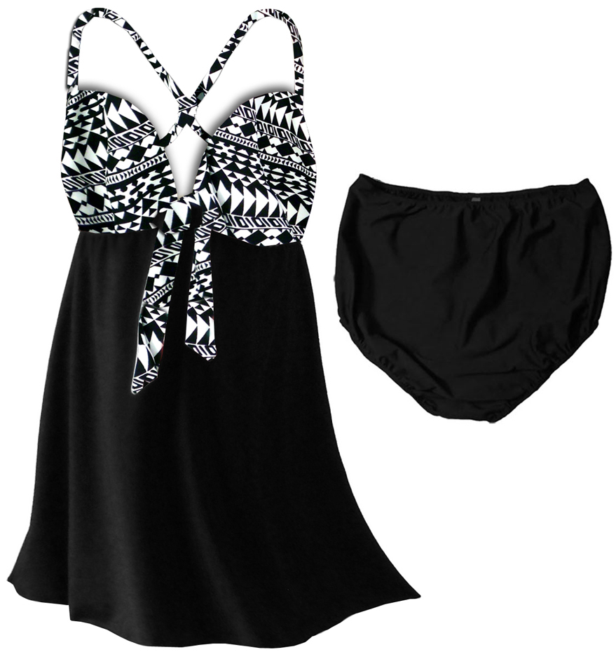 SOLD OUT! 2pc Black Tribal Print Plus Size Swim Dress ...