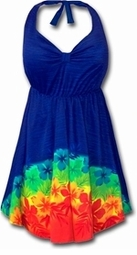 SOLD OUT! SALE! 2pc Blue Tropical Halter Style Plus Size Swimsuit Swimdress 0x