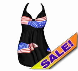 SOLD OUT! SALE! 2pc Patriotic 4th of July Flag Print Plus Size Halter SwimDress Swimwear 2pc Swimsuit 0x 1x 2x
