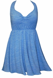 SOLD OUT! CLEARANCE! 2pc Pretty Blue Waves Print Plus Size Halter SwimDress Swimwear or Shoulder Strap 2pc Swimsuit 2x