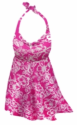 SOLD OUT! 2pc Pretty Pink Tropical Flowers Print Plus Size Halter SwimDress Swimwear or Shoulder Strap 2pc Swimsuit 1x 2x