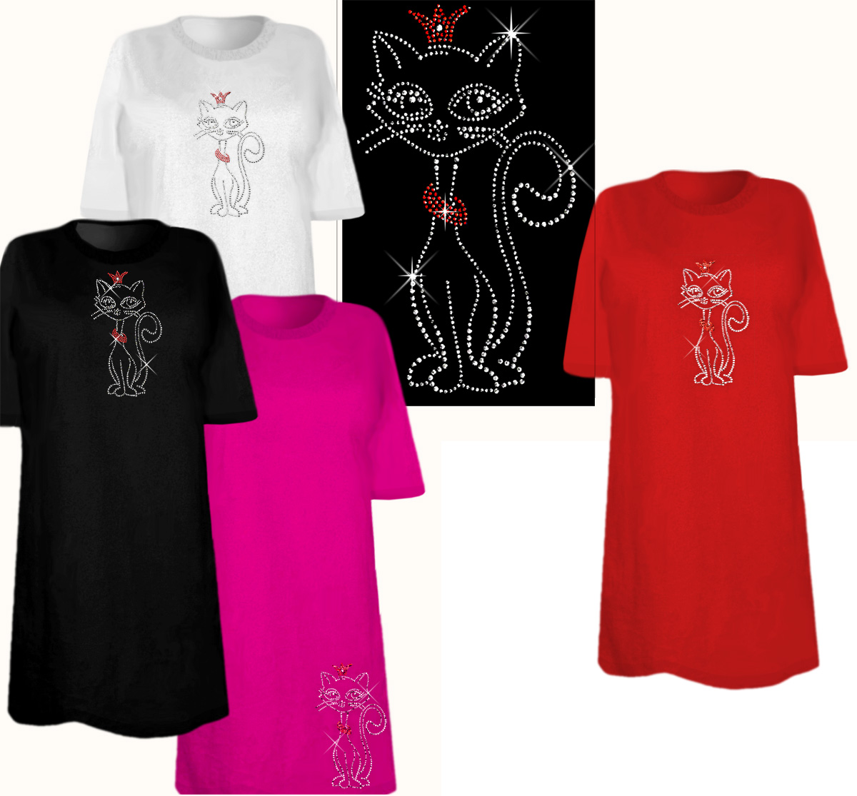 Sale Adorable Rhinestone Kitty Plus Size Supersize T