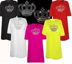 SOLD OUT! FINAL SALE! Awesome Hot Pink Rhinestud Rhinestone Silver or multi-Color Sparkly Crown Plus Size & Supersize T-Shirts 1x