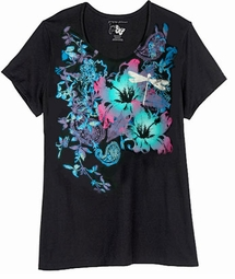 SOLD OUT! SALE! Just Reduced! Beautiful Black, Blue and Hot Pink Dragonfly Print Glittery Plus Size T-Shirt 5x