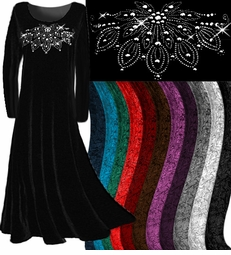 Beautiful Crush Velvet & Silver Rhinestone Customizable Plus Size & Supersize Dresses Many Colors! 0x 1x 2x 3x 4x 5x 6x 7x 8x 9x