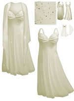 SOLD OUT! SALE! Beautiful Off-White &  Silver Opalescent Sequins 2 Piece  Plus Size SuperSize Princess Seam Dress Set 6x
